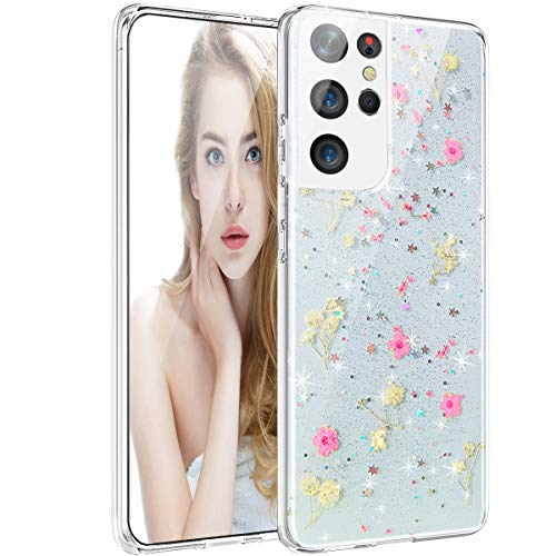 Samsung Galaxy S21 Ultra Case, Clear Glitter with Design for Girls Women, Pressed Dried Real Handmade Floral Flower Cute Protective Case for Samsung Galaxy S21 Ultra 6.8, Pink