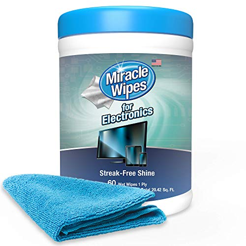 MiracleWipes for Electronics Cleaning  Screen Wipes Designed for TV Phones Monitors and More  Includes Microfiber Towel  60 Count