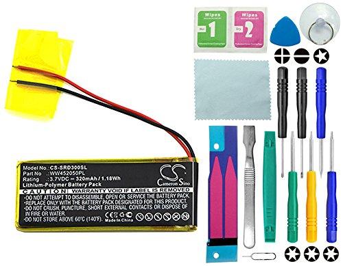 CS - Batería de polímero de litio (320 mAh, compatible con Cardo Q1, Q3, sustituye a Cardo WW452050PL_C con kit de herramientas de reparación 14 en 1)