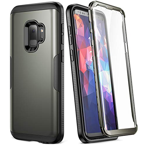 YOUMAKER Galaxy S9 Case, Rose Gold with Built-in Screen Protector Heavy Duty Protection Shockproof Slim Fit Full Body Case Cover for Samsung Galaxy S9 5.8 inch (2018) - Gun Metal/Black