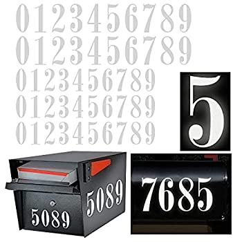 Reflective Mailbox Numbers Sticker Decal Die Cut Roman Style Vinyl Waterproof Number Self Adhesive 5 Sets  3  x 3 set  4  x 2 set  for Signs Door Cars Trucks Home Number Address Plaque  Roman Style