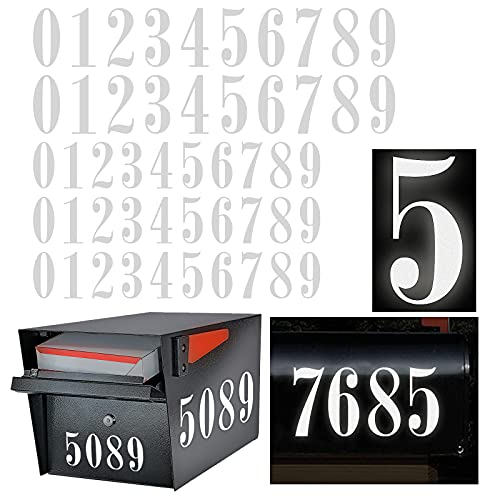 Reflective Mailbox Numbers Sticker Decal Die Cut Roman Style Vinyl Waterproof Number Self Adhesive 5 Sets (3  x 3 set , 4  x 2 set) for Signs, Door, Cars, Trucks, Home Number, Address Plaque (Roman Style)