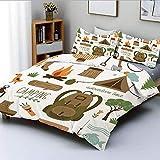 Qoqon Juego de Funda nórdica, Equipo de Campamento Saco de Dormir Botas Campfire Shovel Hatchet Log Artwork PrintDecorative Juego de Cama de 3 Piezas con 2 Fundas de Almohada, Multicolor, pa