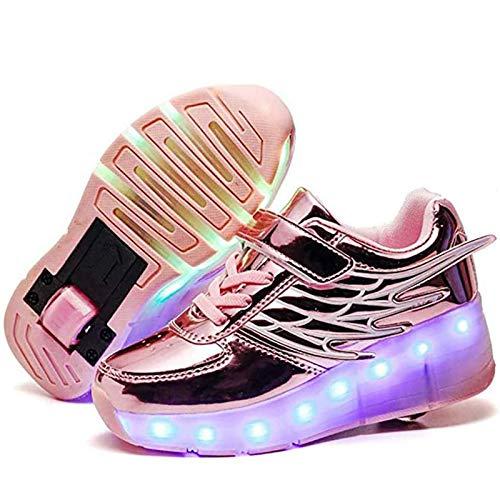 YZU USB Rechargeable Single Roller Shoes Skate Sneaker Shoes for Boys Girls Kids LED Light Up Roller Skates Shoes for Children Gift,Rosa,31