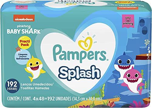 Lenços Umedecidos Pampers Splashers Baby Shark 192 Unidades, Pampers