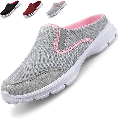 Acfoda Slip On Hausschuhe Damen Sommer Sabot Schuhe Mesh Atmungsaktive Pantoffeln Geschlossen Pantoletten Leicht, 42 EU, Grau