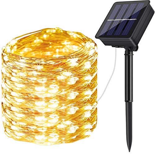 Guirnalda Luces Exterior Solar,DeepDream 200LED 20m 8 Modos Cadena de Luces de Alambre de Cobre,Guirnaldas luminosas Solar Impermeable para Navidad, Fiestas, Bodas, Patio, Jardines(Blanco Cálido)