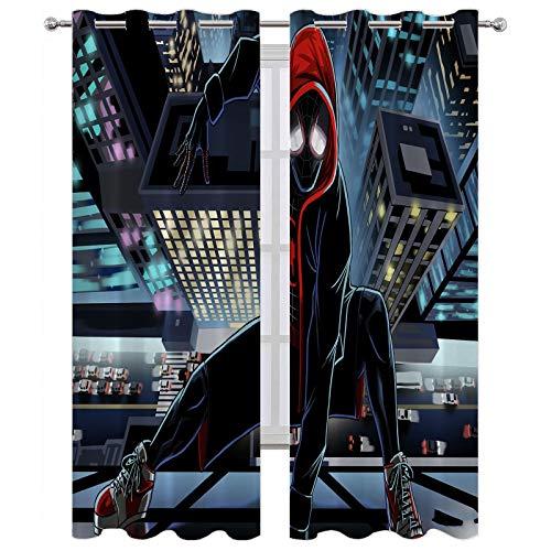 SSKJTC Verdunkelungsvorhänge/Vorhänge Spiderman auf dem Dach, Glas, Innenfenster, 140 x 183 cm