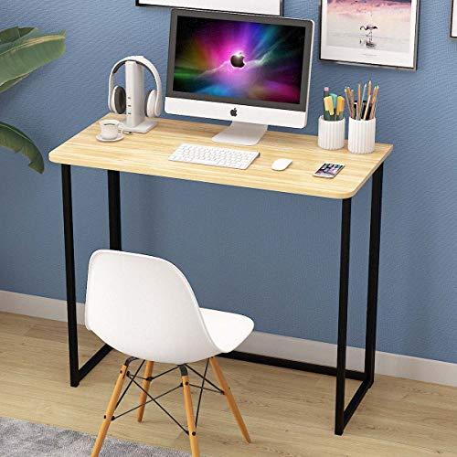 Bespivet Non Assemble Folding Computer Desk Simple PC Laptop Study Desk for Home Office Writing Table for Adults Kids (90 cm x 45 cm, Oak black)