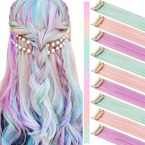 JCM Multicolors Party Highlights Straight Hair Colorful Clip in Synthetic Hair Extensions in Multiple Colors Heat Resistant Long Hairpiece 9PCS (Light Pink Light Purple Light Green)