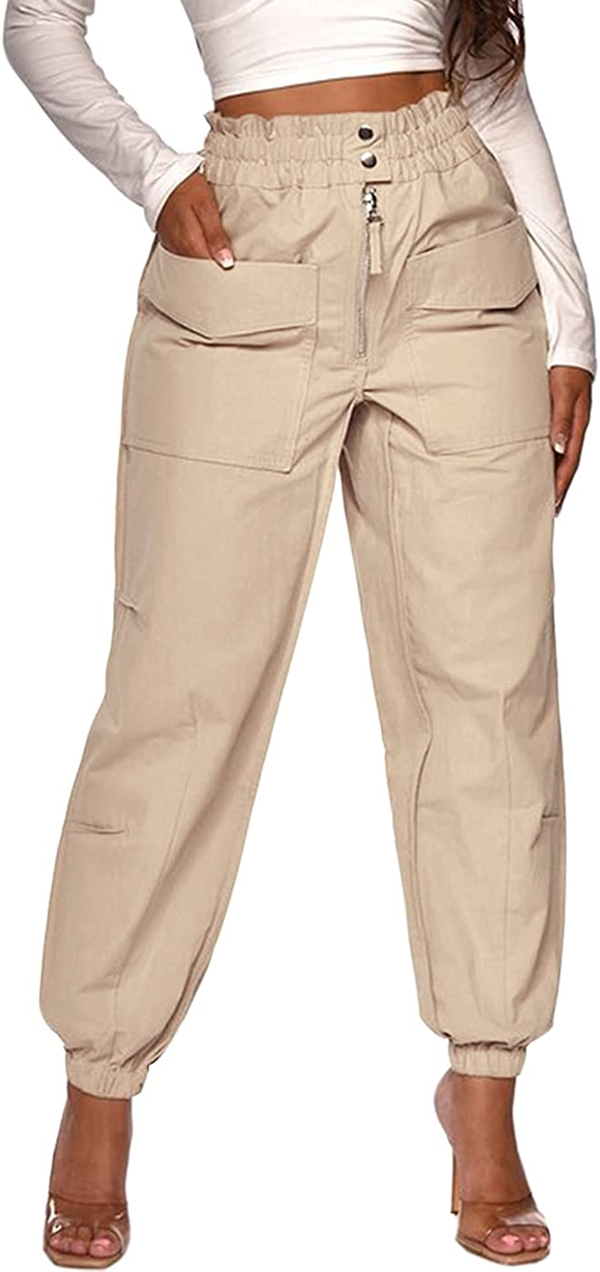 DRESSMECB Women's Casual Outdoor Elastic High Waisted Cargo Pant Baggy Jogger Pants with Pockets