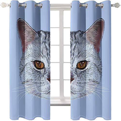 AmDxD 2 paneles de cortina de poliéster opaco, cortinas para ventana, cortinas de cabeza de gato, se pueden lavar a máquina, gris, 84 pulgadas de ancho x 72 pulgadas de largo
