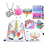 Unicorn Gifts for Girls - Unicorn Drawstring Backpack/Makeup Bag/Bracelet/Necklace/Hair Ties/Keychain/Sticker (White Flower 3)