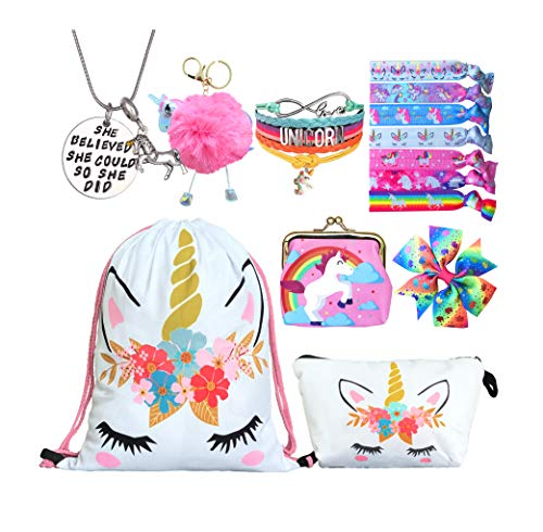 Unicorn Gifts for Girls - Unicorn Drawstring Backpack/Makeup Bag/Bracelet/Necklace/Hair Ties/Keychain/Sticker (White Flower 3)