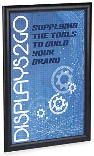Displays2go Sign Frame, 11 x 17 Inch, Wall Mount or Tabletop, Snap Open with Lens, Black Aluminum (WSNF117BK)