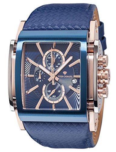 YVES CAMANI ESCAUT Herren-Armbanduhr Chronograph Analog Quarz blaues Lederarmband blaues Zifferblatt YC1060-I