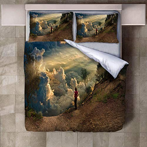 JNBGYAPS 3D Effect Printed duvet cover Alpine landscape Bedding set with Pillocases (with Zipper Closure) Soft Microfiber Quilt Cover Single135X200cm
