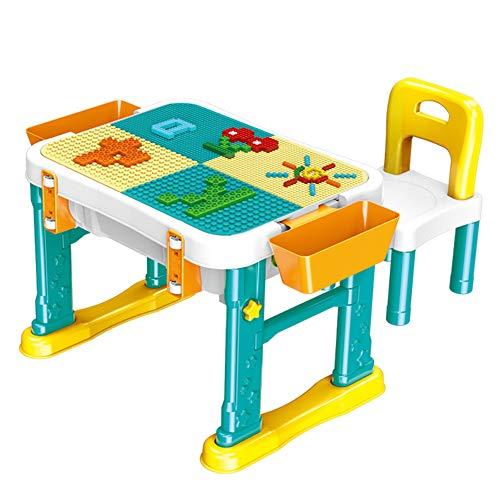 Tables et chaises pour enfants, Puzzle grande table de jeu de jouet de bloc de construction de particules, Table de stockage de jouets avec des chaises, Table d'étude et chaise multifonctions