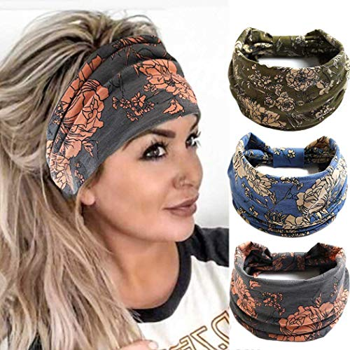 Cagora Boho Bandeau Headbands Wide Knot Hair Scarf Floral Printed Hair Band Elastic Turban Thick Head Wrap Stretch Fabric Cotton Head Bands Thick Fashion Hair Accessories for Women and Girls 3 Pcs (Boho)