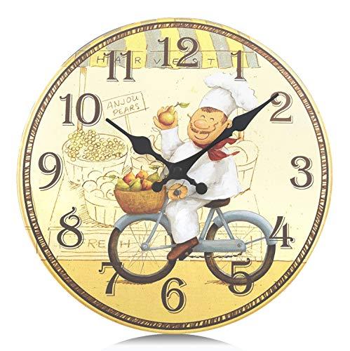 Lafocuse 34 cm Reloj de Pared Amarillo Cocina Grande Rustico de Madera Vintage Silencioso Reloj de Cuarzo Decorativo Redondo Cocinero para Restaurante