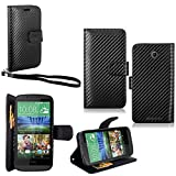 HTC Desire 510 Case - Cellularvilla Pu Leather Wallet Card Flip Open Pocket Case Cover Pouch for HTC Desire 510 (Carbon Fiber Black)