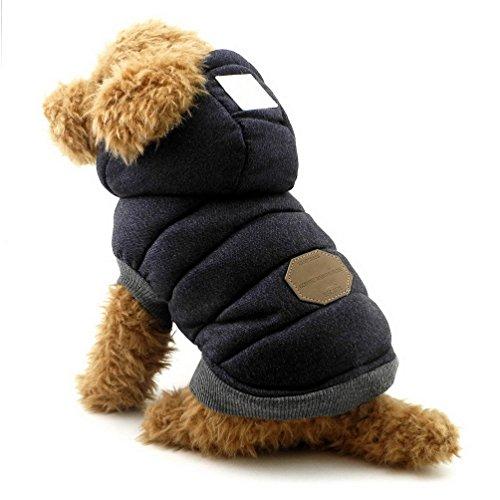 SELMAI Abrigos con Capucha para Perros Pequeños Polar Chaquetas para Perro Mediano Ropa para Gatos Sphynx Grande Mascotas Perritos Chihuahua Caminar Jugar al Aire Libre Prueba de Clima Frío Azul S
