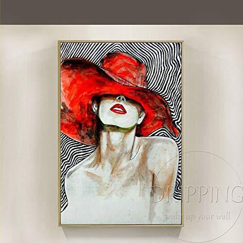 ZHUAIBA Ölgemälde Professionelle Künstler handgemalte Abstrakte Figur Dame Mit Rotem Hut Ölgemälde Auf Leinwand Dame Ölgemälde Für Wand- dekor 80x120 CM