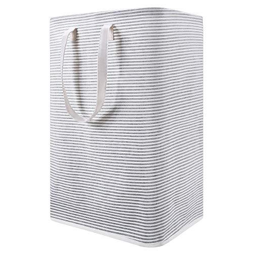 Wäschekorb Groß, Rackaphile Faltbarer Wäschebox 72L mit Griffen, Wasserdichter Wäschesammler, Stilvolles Design mit grauen und weißen Streifen, 40 x 30 x 60 cm