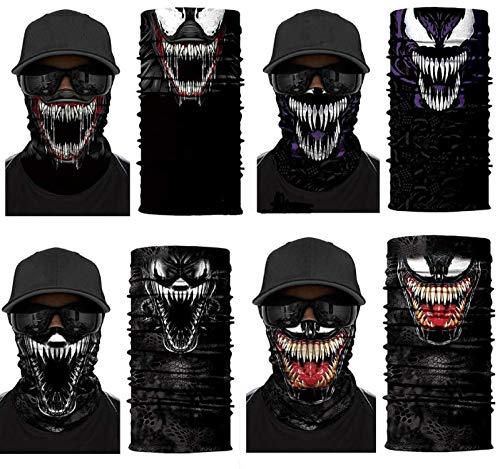 4PCS 3D Venom Face Scarf, Neck Gaiter, Headwear, Magic Scarf, Balaclava, Bandana, Headband for Women Men Teenager Fishing, Hunting, Yard Work, Motorcycling,Skiing,Hiking