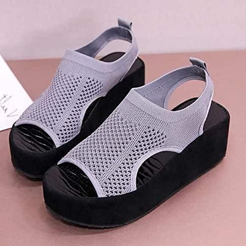 DZQQ Zapatos de Altura Creciente, Sandalias, Correas, Mocasines sin Cordones, Tacones Transparentes de Verano para Mujer, Plataforma Plana, Zapato Femenino, Zuecos, cuña
