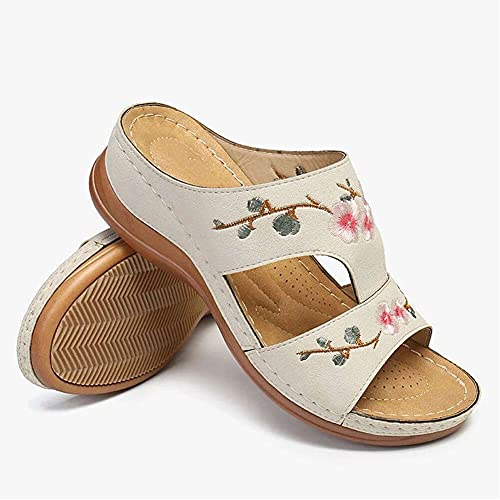 EEUK 2021 Summer New Women's Shoes, Flower Embroidery Wedges Sandals,Casual Soft-Soled Comfy Versatile Slip-Ons for Travelling Beach Pool Party,Massage Function