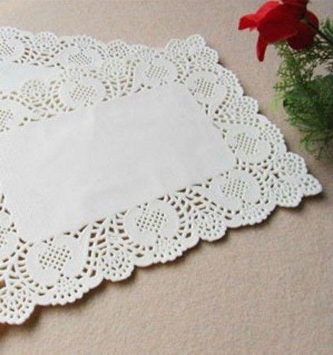 100 PCs Rectangle Paper Lace Doilies Placemat Wedding Party Tableware Decorations (25x35 cm)