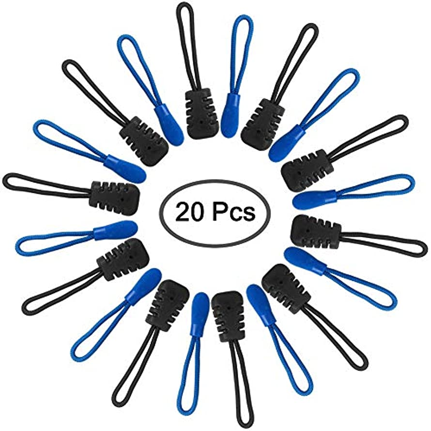 20 Pieces Zipper Extension Pulls, FineGood Nylon Cord Zipper Fixer Replacement Tag, 2 Types - Black, Blue
