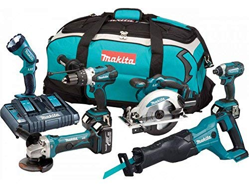 Maktia DLX6072PT 18V Li-ion LXT 6 Piece Kit Complete with 3 x 5.0 Ah Li-ion Batteries and Charger Supplied in a Heavy Duty Tool Carry Bag