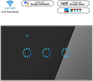 Wall Touch Switch Wi-Fi Smart Switch Timer Remote Control Sensor Wall Switch Work with Amazon Alexa Google Home APP Control AC 90-250V voltage(Neutral Line Required) (3 gang, Black)