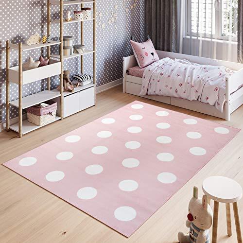 TAPISO Pinky Teppich Kurzflor Kinderteppich Kinderzimmer Rosa Weiß Pastellfarben Modern Geometrisch Kreise Punkte Spielteppich ÖKOTEX 120 x 170 cm
