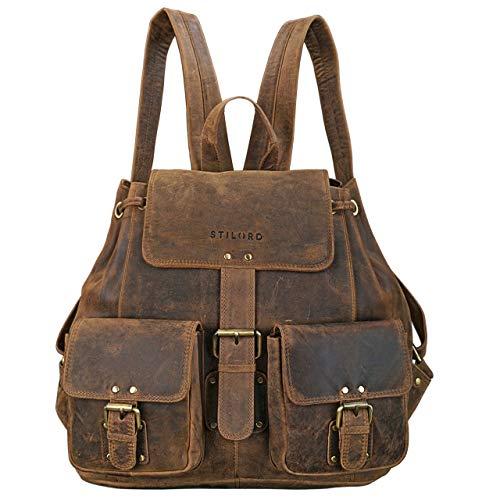 STILORD 'Larissa' Vintage Rucksack Leder Damen Rucksackhandtasche Lederrucksack Handtasche DIN A4 City Shopping Daypack Schule Uni, Farbe:mittel - braun