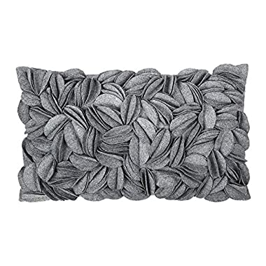 KingRose Solid Wool 3D Handmade Personalized Throw Pillow Cases Decorative Cushion Covers Home Decor for Girls Women 12 x 20 Inches Grey