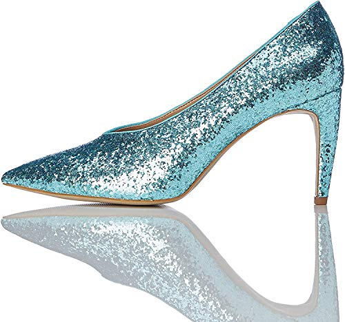 find. Damen Glitter Court Pumps, Grün (Aqua), 39 EU