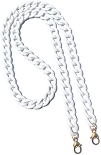 Aumey 40 Inches DIY Resin Bag Strap Plastic Ladies Bag Chain Shoulder Cross Body Bag Handbag Purse Replacement Chain Strap Set with Buckles (White)