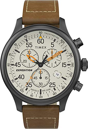 Timex Men's Expedition Field TW2T73100 Tan Leather Japanese Chronograph Sport Watch