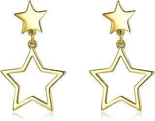 Fashion 14K Gold Star Dangle Drop Studs Earrings For Women Teen Girls Cute Dainty Dangling For Senstitive Ears