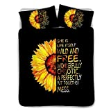 BIGCARJOB Sunflower 3 Piece Duvet Cover Bedding Set Queen Size, Simple Letter Black and Yellow Luxury Soft Bedding Set Comforter Cover (1 Duvet Cover + 2 Pillow Sheet)