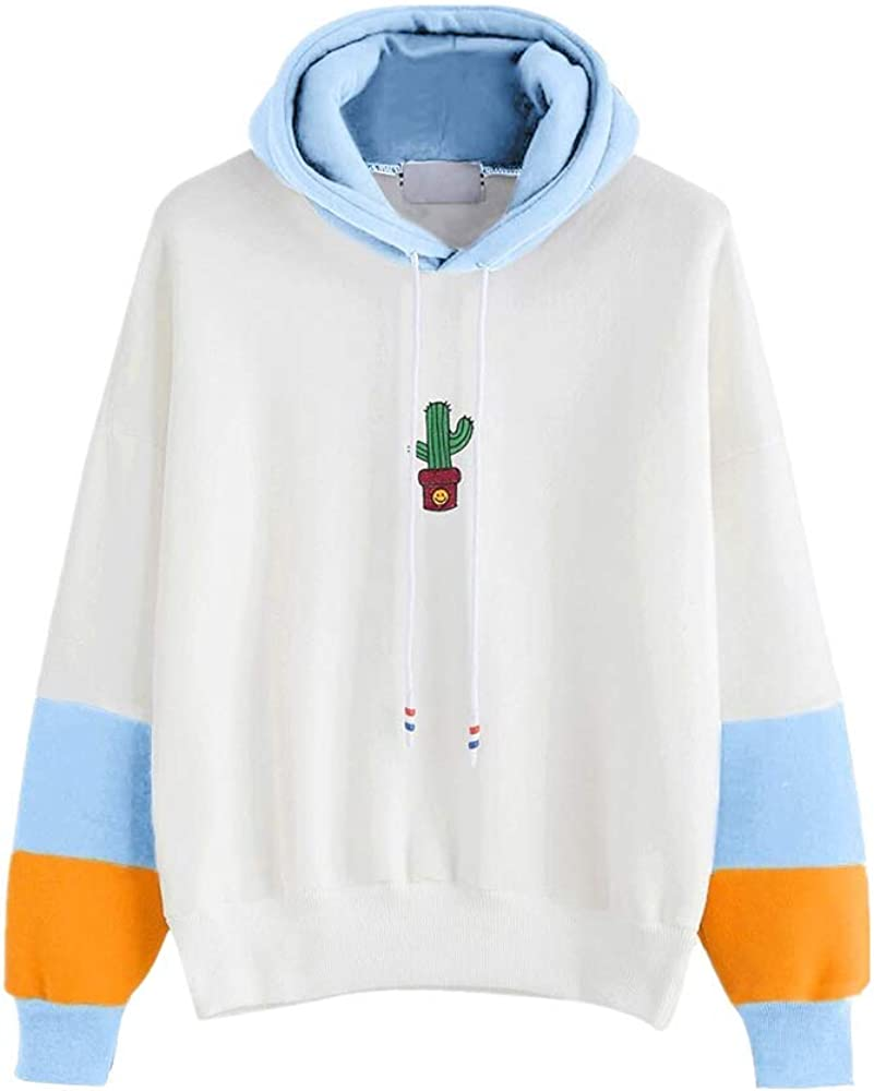 Girls' Hoodie, Misaky Casual Cactus Print Mixed Color Long Sleeve Hooded Pullover Sweatshirt Blouse Tops