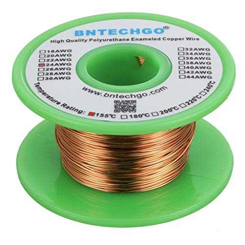 BNTECHGO 24 AWG Magnet Wire - Enameled Copper Wire - Enameled Magnet Winding Wire - 4 oz - 0.0221'...