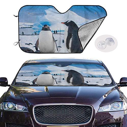 HHJJI Auto Windschutzscheibe Sonnenschutz, Winter Pinguin Ice Mountain Auto Fensterschirm, Sonnenschutz Sonnenschutzfolie, Fahrzeug kühl halten Schützen Sie Ihr Auto vor Sonneneinstrahlung und Blendun