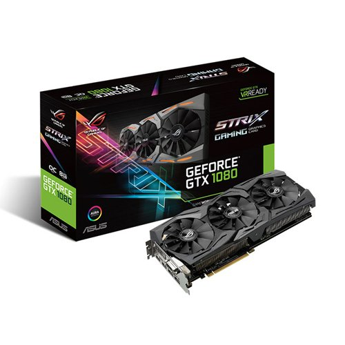 Asus GeForce GTX 1080 STRIX-GTX1080-O8G-GAMING Scheda Video, 1784 MHz, 8 GB, Nero