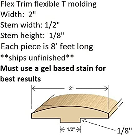 11//16 Thick x 2.25 Wide Precurved to fit Half Round Arches 42 Diameter up to 56 Diameter FLEXTRIM #356 Flexible Casing Molding