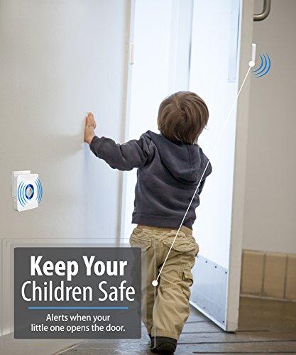 Fosmon [WaveLink Wireless Door Open Sensor Alarm Chime, Security Window Entry Alert for Home Garage Shop Store (Operating Range 120M/400FT   52 Chime Tunes) - 1 Magnetic Sensor, 1 Plugin Receiver