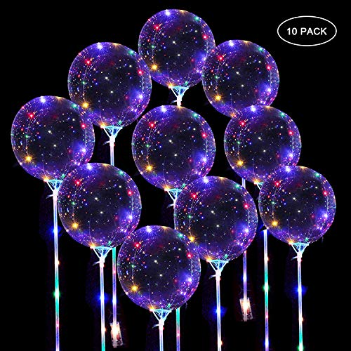 LED Ballons Leuchtende Luftballons, 10 Stück 20 Zoll Helium Ballons Bobo Ballon Transparente Luftballons mit Ballonpump und Lichterkette für Geburtstag, Dekoration Zum Party, Hochzeit, Weihnachten